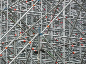 "cc-licensed image ""Scaffolding supporting false building facade, Potsdamer Platz, Berlin"" by flickr user Metro Centric"