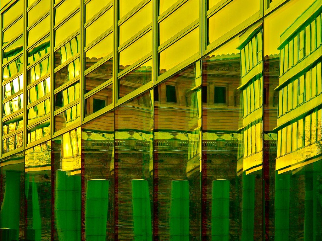 image of reflections on building